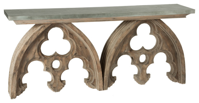 Gothic French Cathedral Arch Aged Wood Console Table Tin