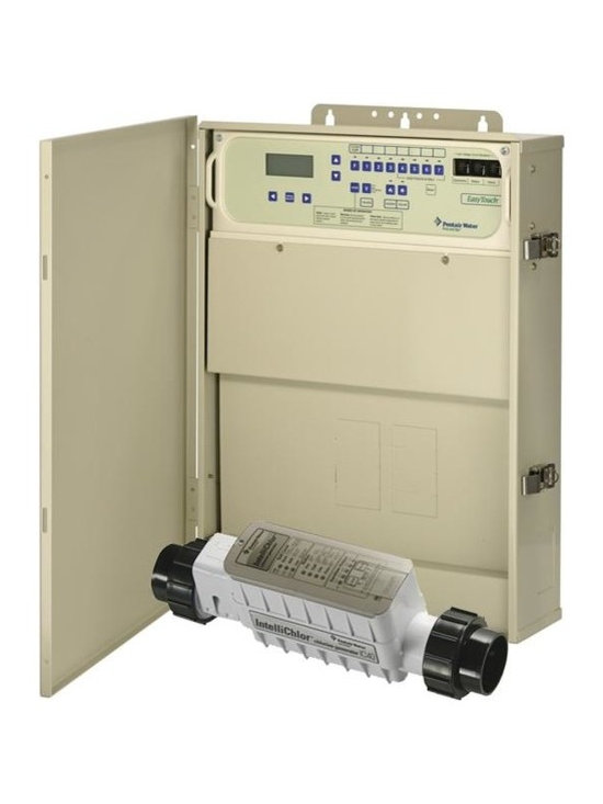 Pentair 520545 EasyTouch 8 Function Control Pool/Spa Combo with IC40 - -All functions controlled with easy, one-button access from the self-contained load center or optional controllers. No need to memorize operating sequences, open and close valves, or reset time clocks and thermostats.
