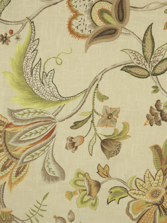 Phoebe Printed Fresh Blooms Linen Custom Made curtains - A lush springtime scene come together with the joyous and lush leaves and flowers. The patterns echo the brilliant blossom and bring the outdoors in.
