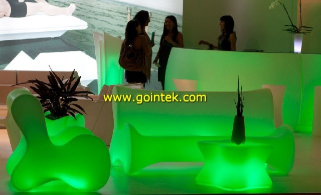 Outdoor Plastic Sofa Illuminated Led Molded Plastic Sofa