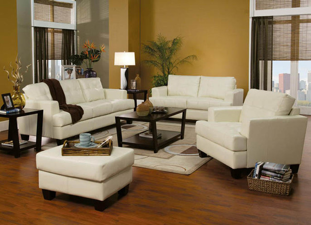 Contemporary modern leather upholstered living room sofa for Contemporary living room sets