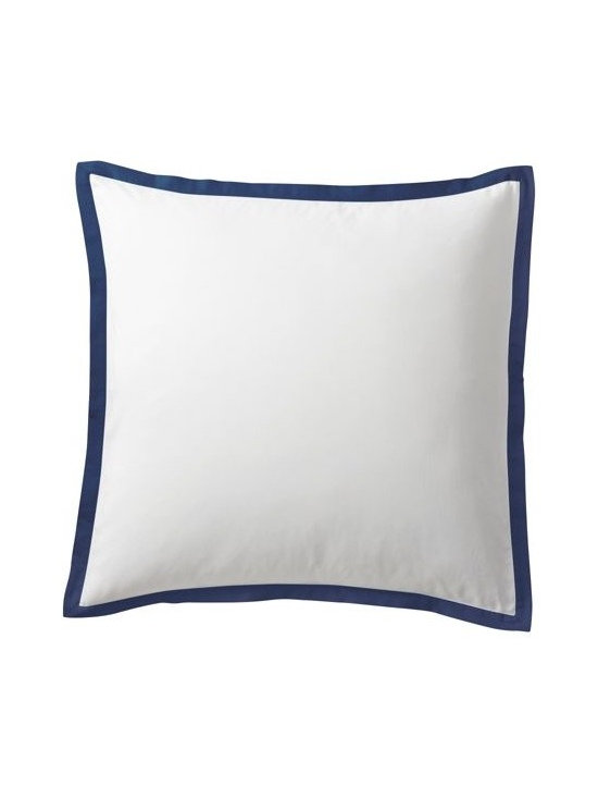 """Serena & Lily - Navy Border Frame Euro Sham - A clean, simple design for those who crave a quieter bed. Sham features crisp 300-thread-count 100% cotton sateen with 1"""" band in Navy."""