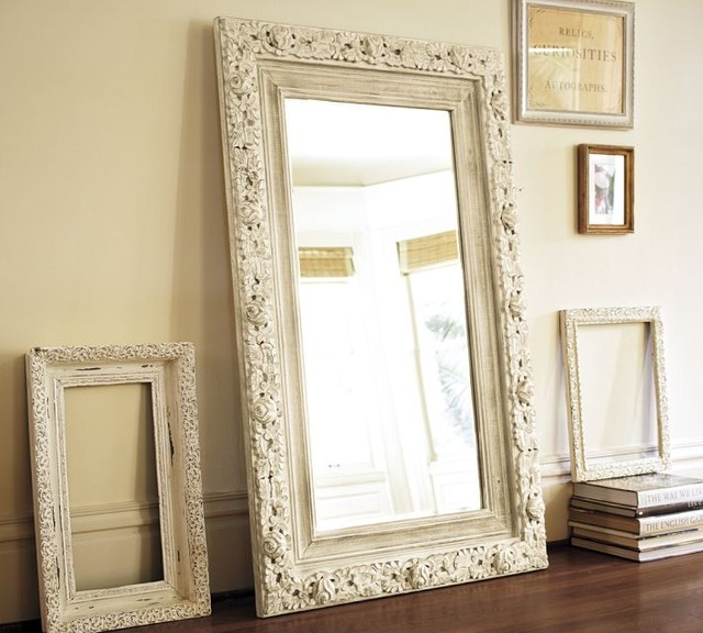 Jocelyn hand carved floral mirror traditional floor for Floor mirror white frame