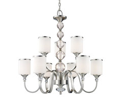 Nine Light Brushed Nickel White Glass Up Chandelier contemporary-chandeliers