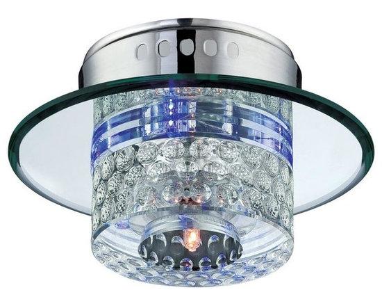 Joshua Marshal - Quotom 4 Light Flush Mount Ceiling Fixture - Finish: Chrome