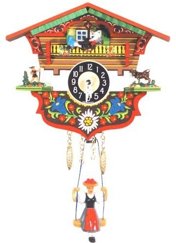Two Children Teeter Totter, Herder and Milk Cow Cuckoo Clock traditional clocks