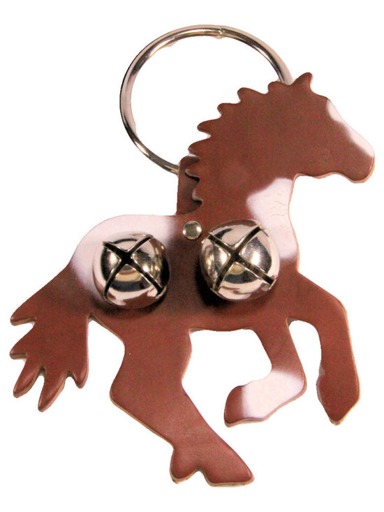 """Leather Pinto Horse Door Knob Hanger, Brown Leather - Brown & White Pinto Horse shaped leather door knob hanger. Hanger has  shiny silver colored bells and ring. The hanger is 6"""" wide by 6"""" tall. The ring is 3"""" in diameter. Hang over door knob and bells ring whenever someone enters.  Door knob hanger has 2 bells on horse shaped leather."""