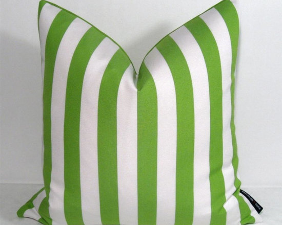 """Lime Green White Stripe Outdoor Decor Cushion 16x16"""" - Bold lime green and white striped Outdoor pillow for a space that demands style! Crafted in Sunbrella outdoor fabric for the patio, boat or any low maintenance indoor or outdoor space where style will not be compromised! Zippered closure. Lime green Sunbrella reverse side."""