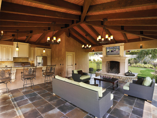 you can hardly tell this outdoor family room is well outdoors - Indoor Outdoor Patio Ideas