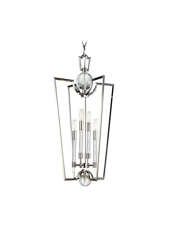 """Hudson Valley Lighting - Hudson Valley Lighting   Waterloo Four Light Chandelier - Design by Hudson Valley, 2012.Visually strong, with angular detail of the Waterloo Four Light Chandelier is designed as an open fixture to highlight its polished finishes and lustrous materials. Cut-crystal prisms scatter the warm light of four glass-sleeved candlesticks from within an avant-garde inspired 33"""" tall frame in Polished Nickel. Thoughtful details like the white cloth wiring inside the transparent glass sleeves and streamlined arms and holders keep the design grounded and elegant. Supplied with a 54"""" chain."""
