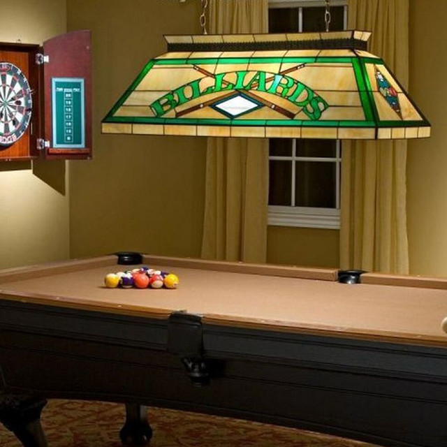 Antique Mid Hand Painted Glass Chandelier For Billiard
