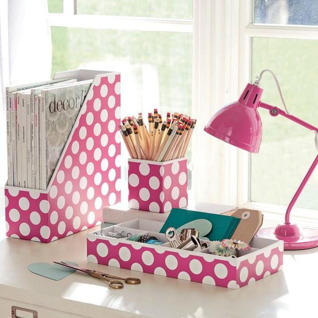 Preppy Paper Desk Accessories Pink Dottie Set of 3