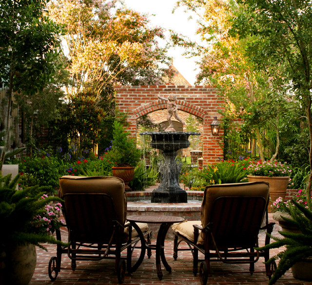 Feucht courtyard new orleans by ferris land design for New orleans style house plans courtyard
