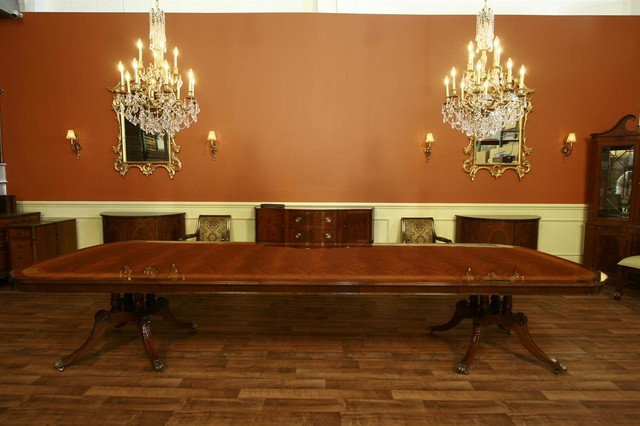 Extra large and long mahogany dining room table with 3 for Long dining room table