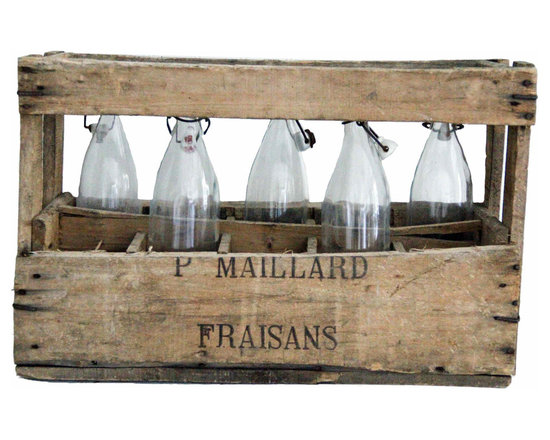 Wine Crate W/Bottles - Lovely old wooden wine crate discovered in France. Five clear glass bottles included as found, a charmer!
