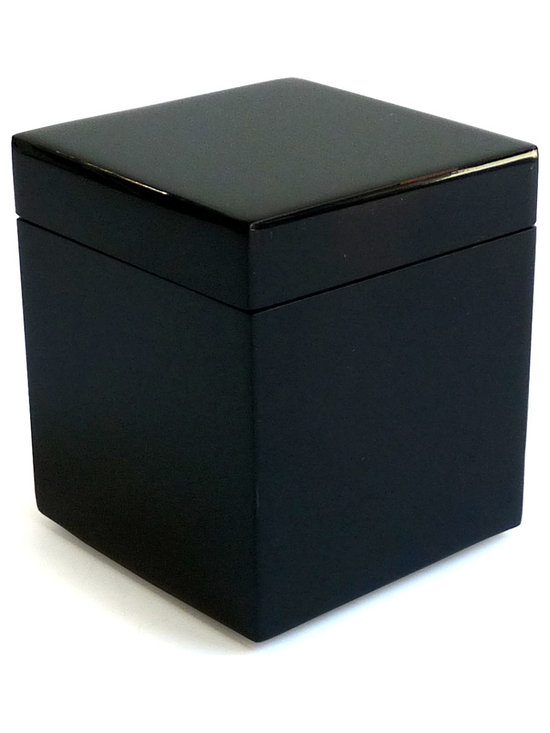 Pacific Connections lacquer q-tip box in black - This hand-crafted, lacquered wood, product is produced using centuries old tradition of hand pouring several layers of lacquer. Each layer is individually hand polished, taking several days, to create the unique, deep, rich finish which is impervious to heat and alcohol.