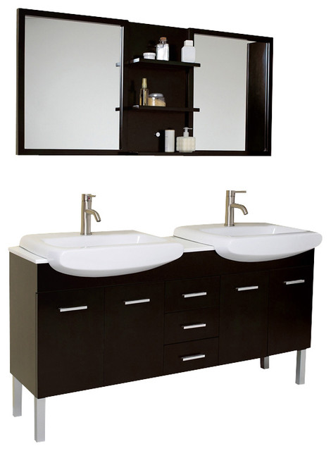 Fresca Vetta Double Sink Modern Bathroom Vanity w/Espresso Finish modern-bathroom-vanities-and-sink-consoles