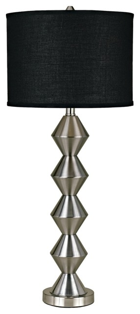 "Art Deco Candice Olson Logan Satin Nickel 34"" High Table Lamp contemporary-table-lamps"