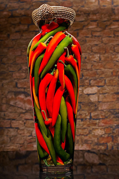 Red And Green Chili Peppers Rustic Vases Seattle