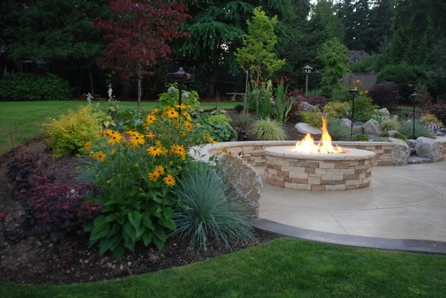 Fire and Water in  Sammamish traditional-fire-pits