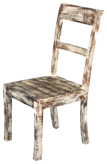white distressed solid wood side dining chair rustic