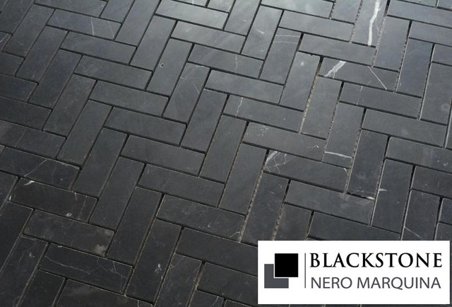 Honed Black Marble Mosaic Floor And Wall Tile Traditional mosaic tile