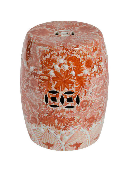 """Belle & June - Orange Ceramic Garden Stool with Dragon Motif - People will want to know more about this stunning orange garden stool when they see it. """"Where did you get?"""" """"Is it hand painted?"""" And from Sara, who's not known for her manners, """"How much did it cost?"""" This piece is an attention getter."""