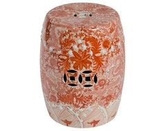 Orange Ceramic Garden Stool with Dragon Motif asian-accent-and-garden-stools