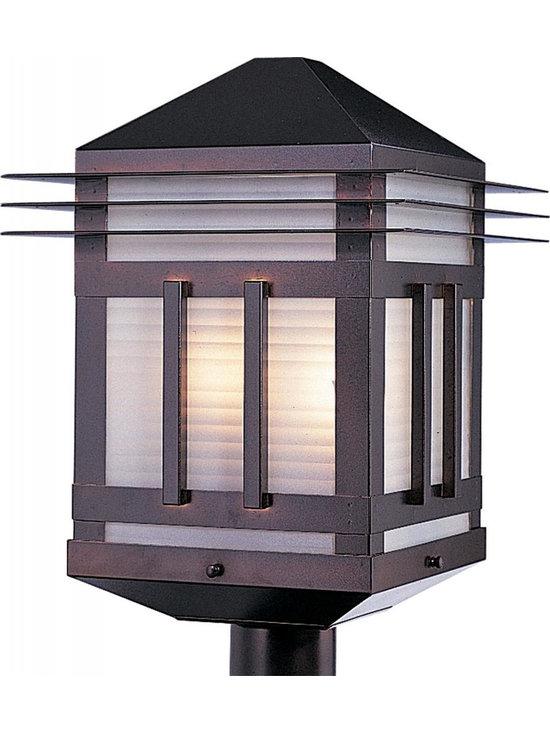 Joshua Marshal - Two Light Burnished Prairie Rib Frost Glass Post Light - Two Light Burnished Prairie Rib Frost Glass Post Light