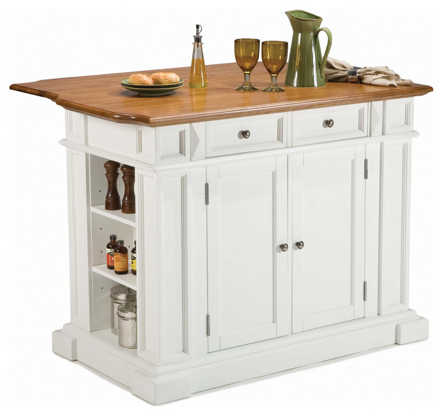 Home Styles Kitchen Island in Rich Multi Step White traditional kitchen islands and kitchen carts
