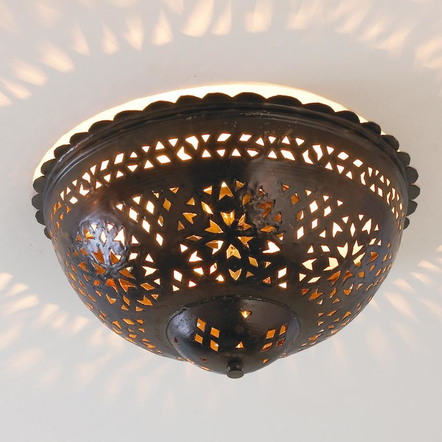 Moroccan Ceiling Light: Moroccan Scalloped & Punched Metal Ceiling Light Ceiling Lighting,Lighting