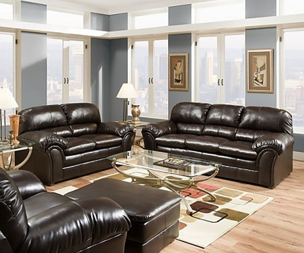 Riverside Bonded Leather 3 Piece Sofa