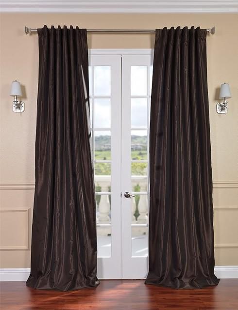 Coffee Bean Vintage Textured Faux Dupioni Silk Curtain contemporary-curtains