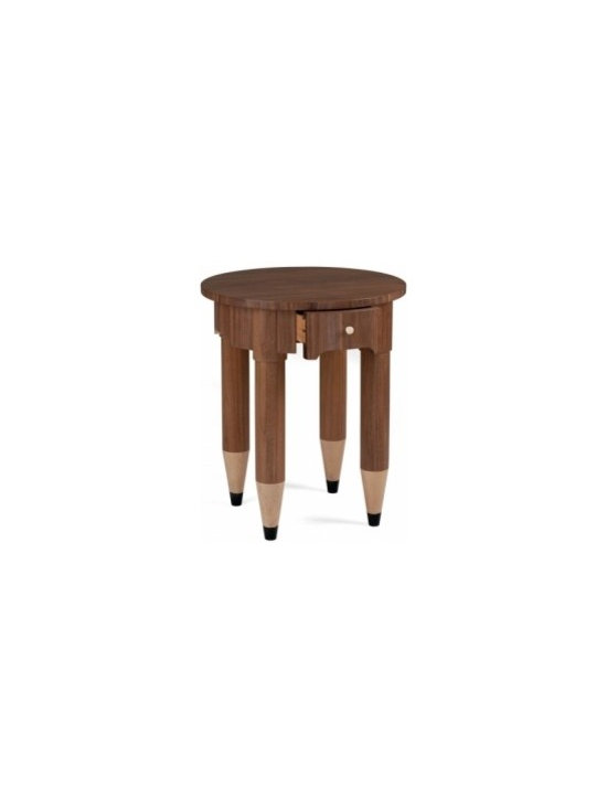 Eco Friendly Furnture and Lighting - A circular bedside table with turned legs tapering to a point, painted to resemble pencil tips. Available in oak, walnut, mahogany or painted.
