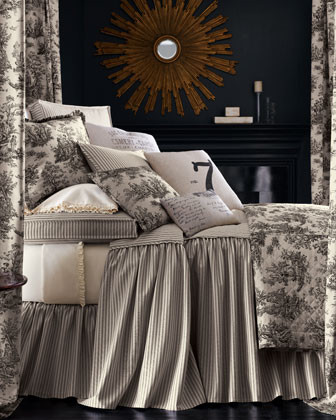 Legacy Home Sydney Bed Linens Square Toile Pillow w/ Piping traditional-bed-pillows-and-pillowcases
