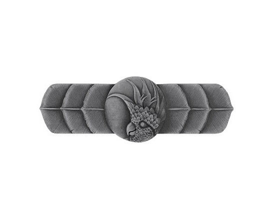 """Inviting Home - Right Horizontal Cockatoo Pull (antique pewter) - Hand-cast Right Horizontal Cockatoo Pull in antique pewter finish; 4-1/4""""W x 1-1/2""""H; Product Specification: Made in the USA. Fine-art foundry hand-pours and hand finished hardware knobs and pulls using Old World methods. Lifetime guaranteed against flaws in craftsmanship. Exceptional clarity of details and depth of relief. All knobs and pulls are hand cast from solid fine pewter or solid bronze. The term antique refers to special methods of treating metal so there is contrast between relief and recessed areas. Knobs and Pulls are lacquered to protect the finish. Detailed Description: If you are intrigued by fashionable and playful accessories than you will love the Cockatoo pulls - they come in vertical and horizontal options which would bring amazing variety without having to search at all. You can use the vertical pulls on the cabinet doors and the horizontal pulls on the drawers. If you have any smaller drawers you could also work in the Cockatoo Knobs making it a complete collection while displaying variety."""