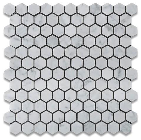 Bianco Carrara White Marble Honed Mini Hexagon Mosaic Tile modern-tile