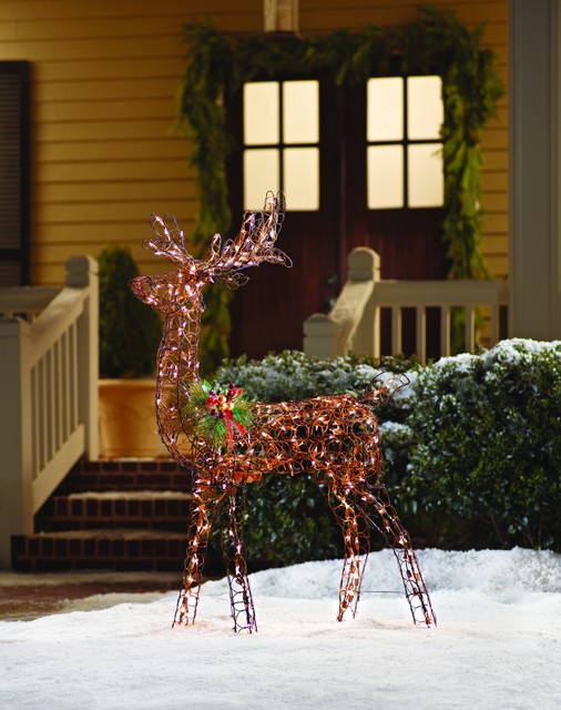 Home accents holiday animated grapevine deer 60 inch for Professional outdoor christmas decorations