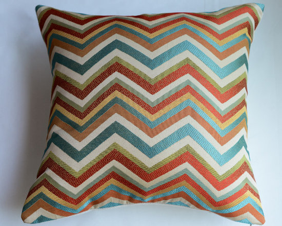KH Window Fashions, Inc. - Chevron Pillow Cover in Spice-  Red, Green and Ivory - Red, green, ivory, blue chevron pillow. Perfect to toss on your bed or sofa.