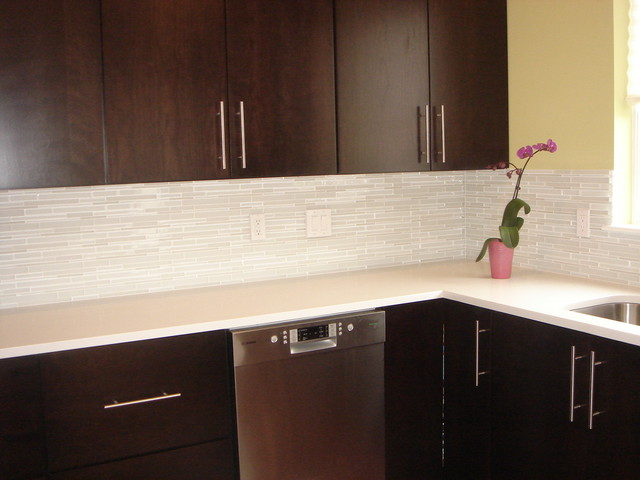 Kitchen Design with martini mosaic glass tile backsplash  accessories and decor