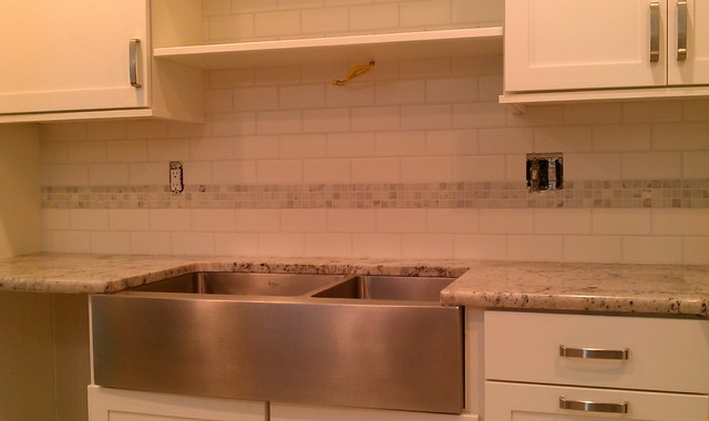 Kitchen - Backsplash - White 3x6 Subway Tile & White / Gray Marble Mosaic Accent - Contemporary ...
