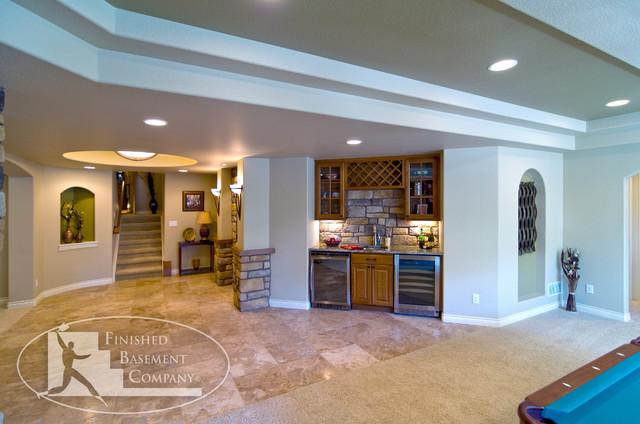 Basement Entry and Bar traditional-basement