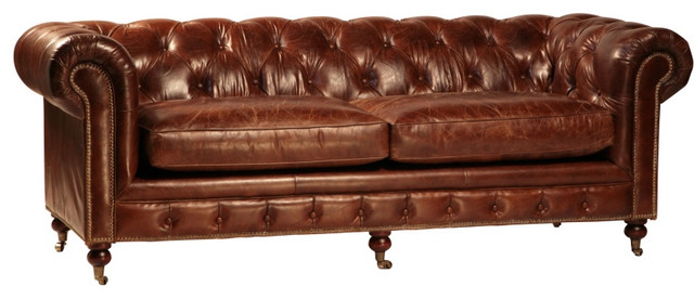 Curved back tufted brown leather sofa traditional for Traditional tufted leather sofa