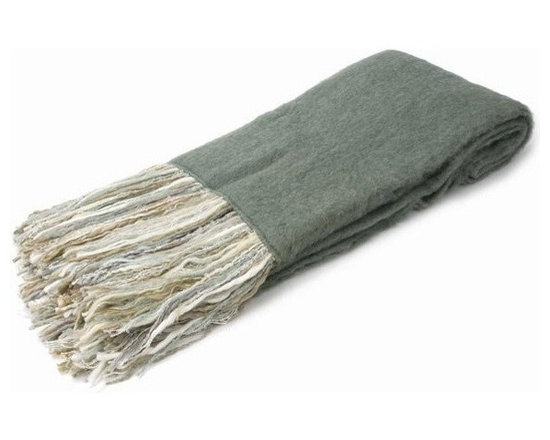 Belle & June - Sage Mohair Throw with Neutral Fringe - Let it all hang out with this eclectic throw that is just as cool as it is cozy. Made from recycled yarn in angora fashion, this fine fabric with its vibrant, multicolored fringe will fit into your home décor while making a bold statement with bohemian style.