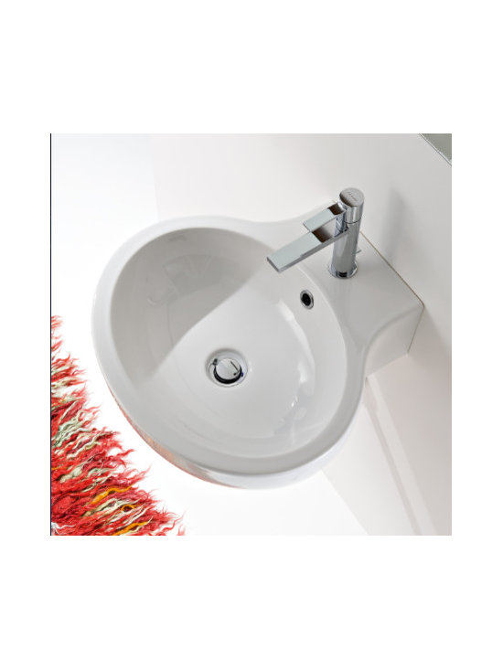 "Scarabeo - Beautiful Oval Wall Mounted or Vessel Ceramic Bathroom Sink - Beautiful round contemporary bathroom sink designed and manufactured in Italy by Scarabeo. Stylish white ceramic wall mounted or above counter vessel sink includes overflow and a single faucet hole. Sink dimensions: 19.10"" (width), 6.30"" (height), 18.50"" (depth)"