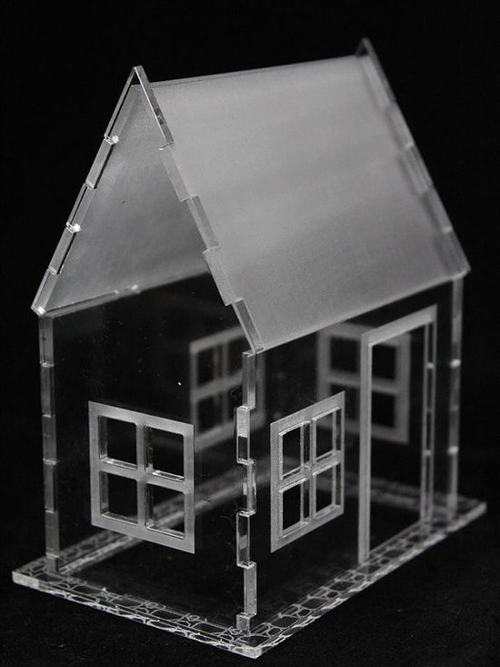 Miniature House 3D Puzzle, Etched Frame and White Roof by Sunshine Acrylic -