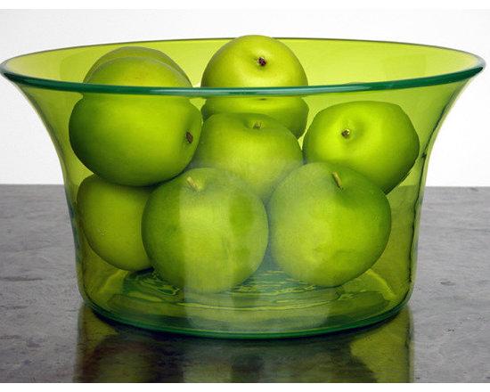 Elizabeth Lyons Glass Big Green Bowl -