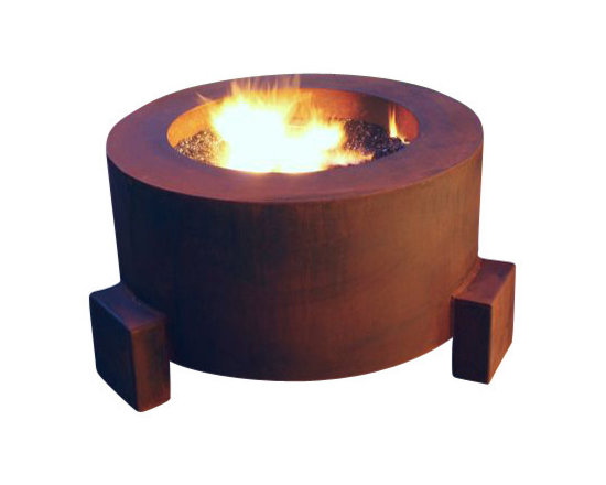 "Home Infatuation - Mini-Round Weathering Steel Fire Pit, Mini Round Pit for Logs/Propane Gas - This handcrafted outdoor fire pit is constructed entirely of 11 gauge Cor-Ten steel. Commonly called ""weathering steel"" it will develop a beautifully brown layer of rust when exposed to the weather."