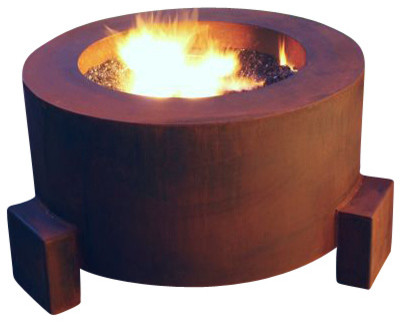 Mini-Round Weathering Steel Fire Pit, Mini Round Pit for Logs/Propane Gas contemporary-fire-pits