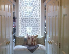 "Delia Shades' Custom Solar Shades in ""Star Jali"" pattern contemporary-roller-blinds"